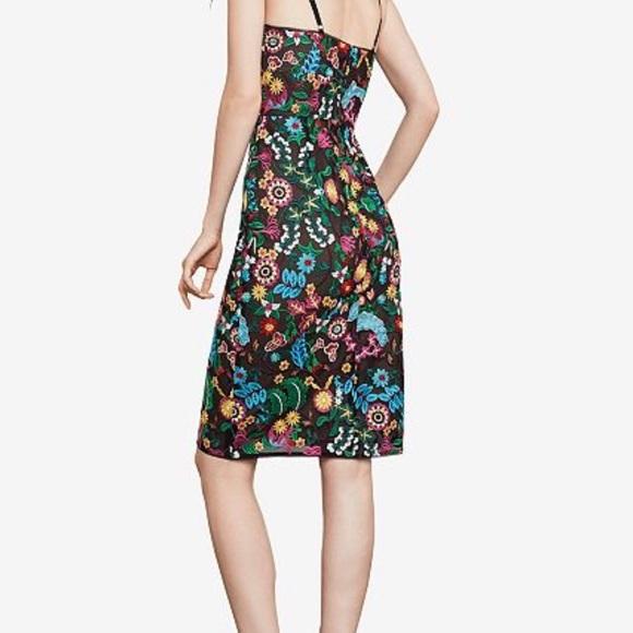 BCBGMAXAZRIA Womens Floral Embroidered Bustier Midi Dress